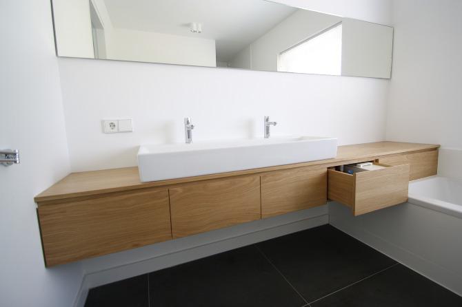 Badkamer meubel eikenhout zwevend met spiegel bk meubels op