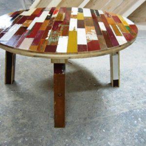 t06 sloophout tafel rond op maat gemaakt