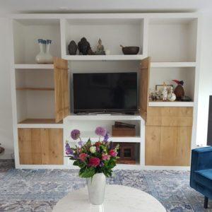 Meubels op maat online wandkast, boekenkast wit, sloophout kast, woonkamer kast, tv kast, kledingkast, opbergkast, witte sloophoutkast